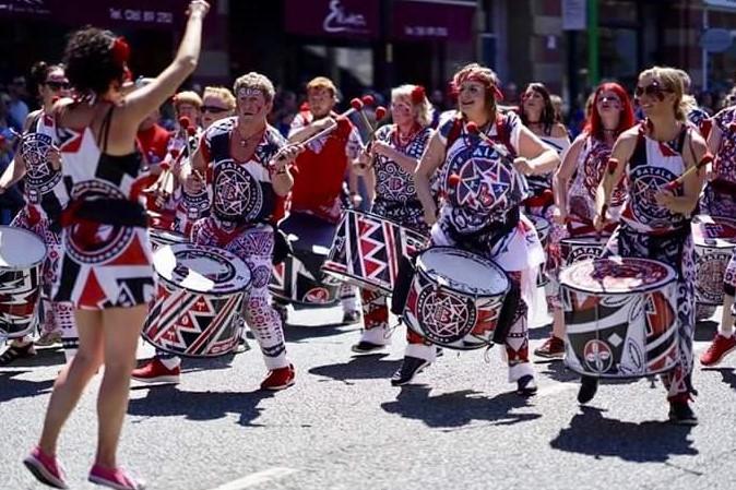 Batala Lancaster drumming band at Manchester Day Parade 2017