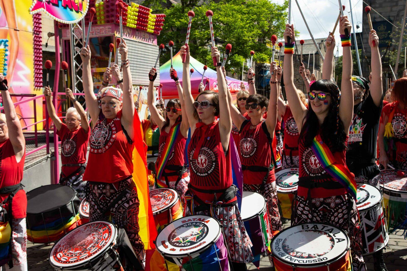 Batala Lancaster samba reggae drumming band at Lancaster Pride